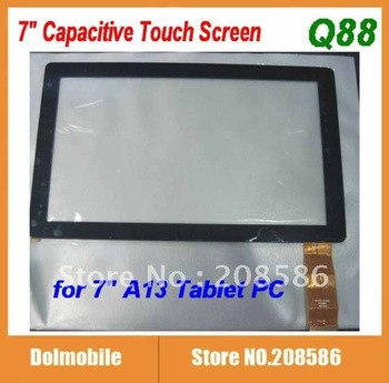 "Replacement Screen 7"" Capacitive Touch Screen with Glass Digitizer for 7 inch Allwinner A13 Q88 MID Tablet PC Free Shipping"
