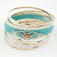 [Mix 15USD] Wholesale Assemble  Bohemia Blue or orange Multi-layer Bangle bracelet jewelry women