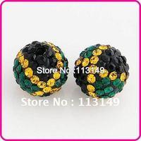 Free Shipping! New Arrival Jamaican Flag Shamballa Clay Ball Beads Round Ball Micro Pave Crystal Rhinestone DIY Jewelry CPB-020