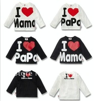 Hot sale,high quality autumn chil clothes,I love papa I love mama boy's/girl's long-sleeve t-shirt ,5pcs/lot