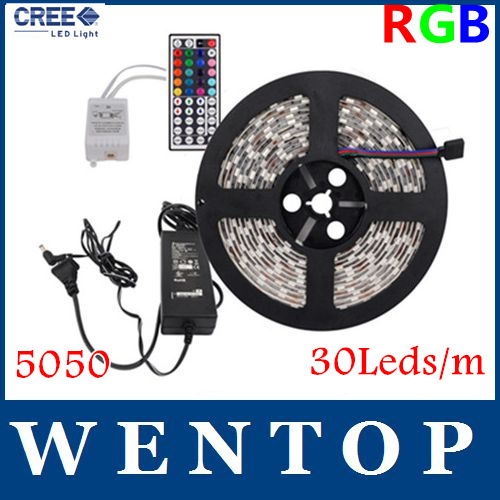 5M 5050 SMD150 LED RGB Strips Light +44 Key IR Remote Control+12V 3A Power Supply US/EU/UK/AU Warm white Yellow Free shipping(China (Mainland))