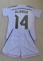 14 ALONSO home white kids youth young boys soccer Jersey kits (shirts + shorts)  14/15 real photos + can custom names