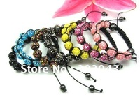 Wholesale  100pcs/lot  Cheap 10MM Candy Color Resin Rhinestone Ball Shambala Bracelet