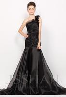 11P091 Black One Shoulder Organza Elegant Gorgeous Luxury Unique Brilliant Train Prom Evening Dress Long Evening Dresses