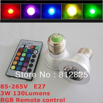 2PCs 16colors changing RGB LED spotlight 3W E27 RGB LED Bulb Lamp  with Remote Control sd23 For exhibition hall
