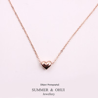 18K Rose Gold Plated High Polish love Heart Jewellery Necklace