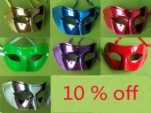 Wholesale Half face Plating flat Pure color party masks painting halloween masquerade Britt Reid mask 100pcs/Lot Free shipping(China (Mainland))