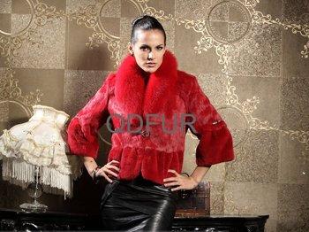 Autumn Women's Genuine Real Rabbit Fur Jacket Coat With Fox Fur Collar Winter Women Fur Outerwear Coats Garment QD21875