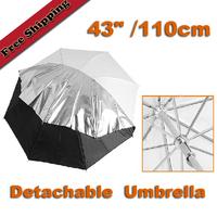 "43"" 110cm Black/Silver and White Reflective Umbrella Soft Umbrella Double Decked Detachable Photography Umbrella FREE SHIPPING"