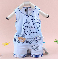 Free Shipping 2014 summer New sleeveless vest suit hot baby Bamboo Fiber Cartoon Litter Train Vest  Short suit