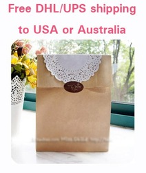 PM12 free DHL UPS SHIPPING to USA or Australia diy backing candy gifts packing kraft carton brown paper bag for food packaging(China (Mainland))