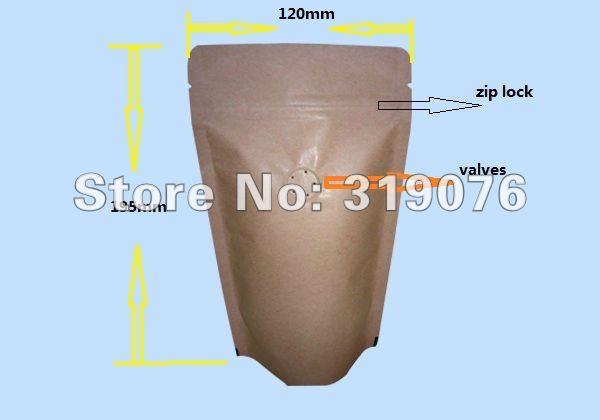 Großhandel 100g braun kraftpapier aluminiumfolie kaffeebohne entlüfter standup beutel rv schloss verpackungsbeutel, kaffee verpackungsbeutel