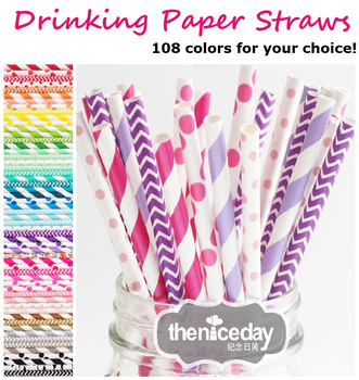 1000pcs & 108 colors Chevron patterns Striped & Polka Dot Drinking Paper Straws party straws,Free shipping & Drop shipping