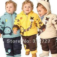 Retail&free shipping! 1set, 4color 3size Baby warm suit Giraffe clothing boy fur suit winter set