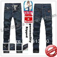 Size28-36#KPR0666,Free Shipping,2013 Fashion Brand Men Jeans,Dark Color Low Waist Slim Casual Zipper Ripped Denim Pants