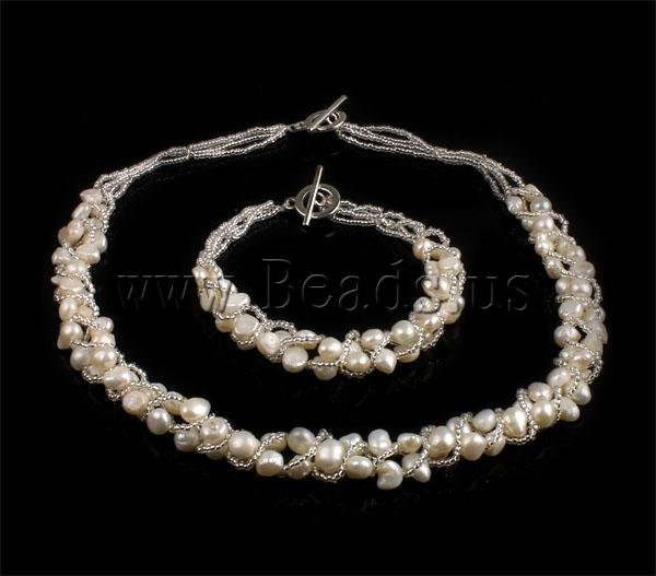 FREE SHIPPING Wholesale Lot Necklace & Bracelet White Natural Freshwater Pearl With Glass Seed Beads Wedding Bride Jewelry Set(China (Mainland))