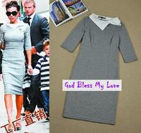 2014 autumn and winter Victoria Beckham Long Sleeve Swallow Gird One-Piece Dress