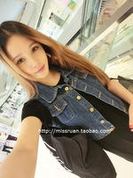 Vivi women's water wash distrressed 2013summer personality cardigan women's denim vest