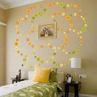 colorful flower home decor wall sticker 57*56cm free shipping!Promotion