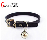 Low price for you! fashion plain pu pet collar,leather cat collars,crystal bell cat collars,free silver bell cat accessories