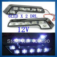 12V 6LED X 2 High Power LED Car Daytime Running Light L Shape DRL