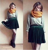 Free shipping New Brand High Elastic Waist Women Vintage Pleated Velvet Mini Pompon Short Shirred Skirts