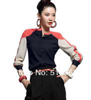 Women blouse 2014 new Fashion Patchwork chiffon lace spring summer skirts womens  Plus Size women XXXL work wear shirts 3270