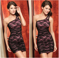 Elegant Fashion One-Shoulder Lace Dresses Sexy Hip Package One Shoulder Sleeveless Mini Party Dress