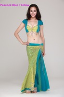 [Free Shipping]#QC2053 High-end  Professional Belly Dance Costume 2Pcs(Bra+Skirt) For Performance,S/M/L,12Colors