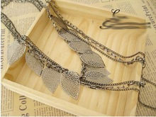 Hot Selling New Arrival Free Shipping Silver Light Leaf Multi Layer Long Necklace N55
