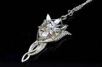 The Lord of the Rings Arwen Undomiel necklace lovers' pendant necklaces silver plated white crystal fairy women free shipping