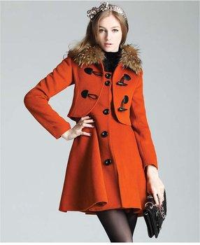 Free Shipment, 2012 Winter Coat Women With Demountable Fur Collar (Coat + Dress) , Black / Orange / Brown,  Retail  /  FU1228