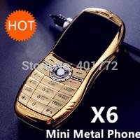 Mini Metal Phone Gold X6 Luxury Bar Car Phone Dual Sim Card Cheap Cell Phone Bluetooth Camera Russian Keyboard French Greek