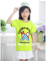 Free Shipping 2014 Spring new summer Bunny cartoon mushroom rabbit printing child Short Sleeved T-shirt girl clothing