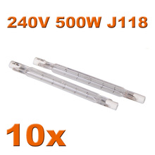 In stock 10x R7s 118mm Linear Halogen Bulb J118 500w 220v-240v Tungsten Bulbs Security Lamps Flood Lights Free Shipping(China (Mainland))
