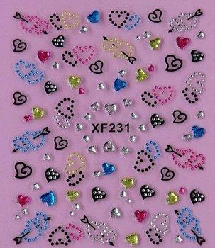 10 Designs Korea Style 3D Nail Art Stickers Colorful Heart Rhinestone XF Free Shipping