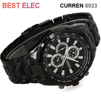 Fashion Black Stainless Steel Luxury Sport Analog Quartz Clock men Wristwatches free shipping