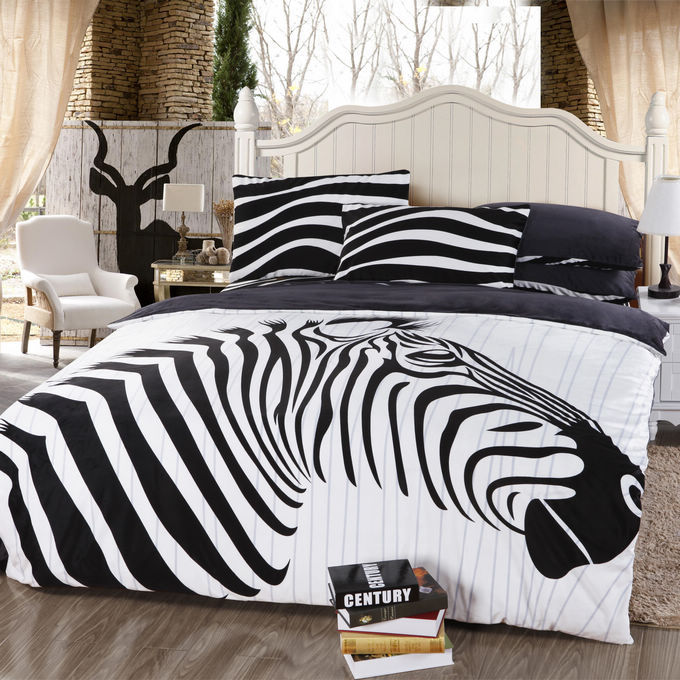 Velvet fabric black and white Streak Zebra bedding set queen size 4pcs comforter set duvet cover bedclothes home textile(China (Mainland))