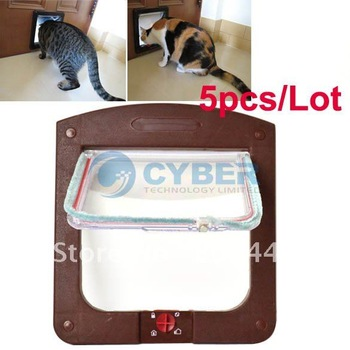 Holiday Sale Free Shipping 5pcs/Lot New 4Way pet Cat Dog Flap Door Lock Safe Lockable Small White, Coffee 5623