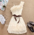 Women One Shoulder Sweet Pleated Party Chiffon Dress A-006