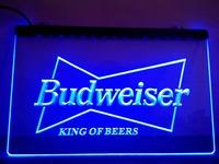 LE009- Budweiser King Beer Bar Pub Club Neon Light Sign hang sign home decor shop crafts led sign