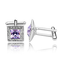 4 Colors for Option Platinum Plated 100% Austria Crystal Cufflinks For Men