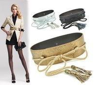 womens embellished wide cummerbund serpentine snake no button rope corset belt with tassel in gold black silver