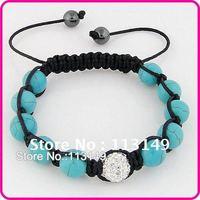 Free Shipping Womens & Mens Vintage Turquoise Beads Bracelets Shamballa Macrame Woven Jewelry Wrap White Crystal Ball SSB072-1