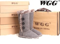Genuine Leather Ankle Boots WGG 1873 Button Snow Boots,High-Leg Grey Women's Shoes Winter Ladies Boots Rubber Bottom