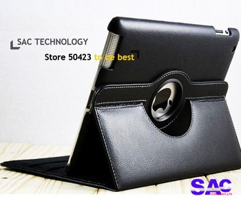 360 Rotating Magnetic Smart Cover Leather Case Stand For New iPad2/3/4 4pcs/lots=1pen + 1case+1protector+Dustproof plug
