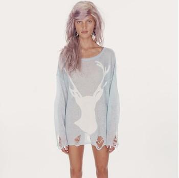 Tops women's sweater cardigan women crochet pullover popular  wildfox sweater outerwear Deer head women clothes blouse shirt