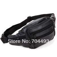 FREE SHIPPING 100%Genuine leather  man waist bag  black hip belt bag bum bag fanny pack pouch-free shipping