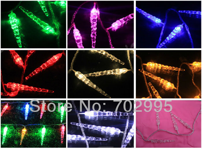 Waterproof New shape Icicles LED Christmas lights,10M 100leds(100icicles) with controller,End to End,7colors available(China (Mainland))