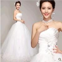 Fashion sleeveless strapless Princess Wedding Dresses 2014 fashion White diamond Bow Ribbon Wedding Gowns KC6312